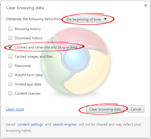 clear google chrom browser cookies